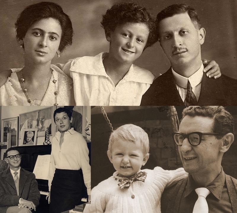 Collage Ennio Porrino mit seiner Familie